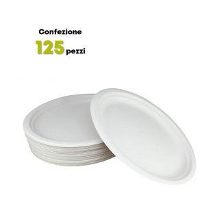 Piatto Ovale in polpa di cellulosa 26x19 cm-Confezione 125 pezzi