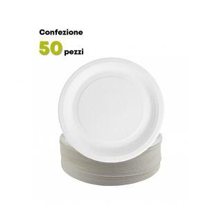 Piatto Tondo Piano Cartoncino Bianco Ø 22 cm-Confezione 50 pezzi