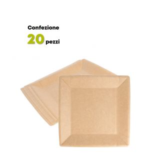 Piatto Quadrato Cartoncino Naturale 18x18 cm -Confezione 20 pezzi