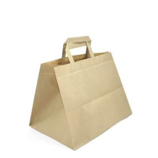Busta Shopper con Manici Piattina 32+20x32 Cm - Cartone 200 pezzi