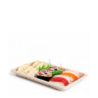 Vassoio Sushi in Polpa di Cellulosa, 23,5x15,5x2 cm - 50 Pezzi